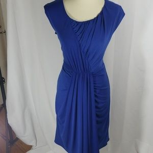 Suzi Chin cobalt blue draped ruched sheath sz 8